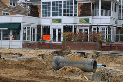 Westhampton Beach - dug up road with sewer pipe
