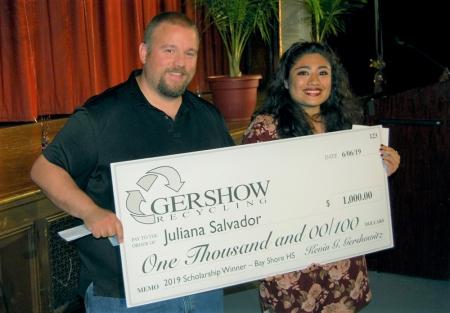 Gershow Recycling Grants Environmental Conservation Scholarship to Bay Shore High School Graduating Senior Juliana Salvador