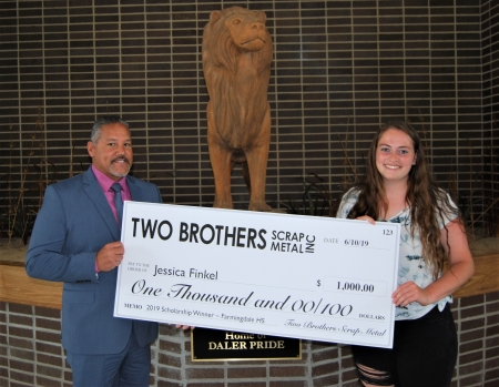 Two Brothers Scrap Metal Grants Environmental Conservation Scholarship to Farmingdale High School Student