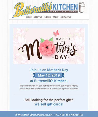 Buttermilks Kitchen: Mothers Day Email