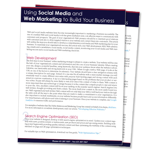 USING SOCIAL MEDIA AND WEB MARKETING TO BUILD YOUR BUSINESS