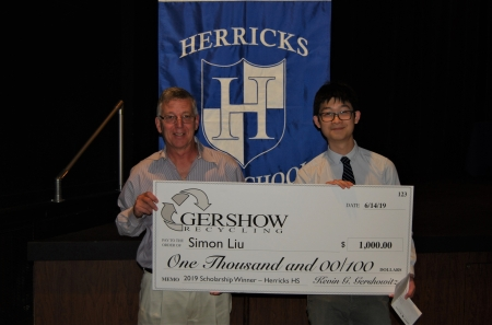 Gershow Recycling Grants Environmental Conservation Scholarship to Herricks High School Graduating Senior Simon Liu